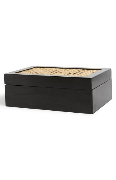 Black Rattan Jewellery Box