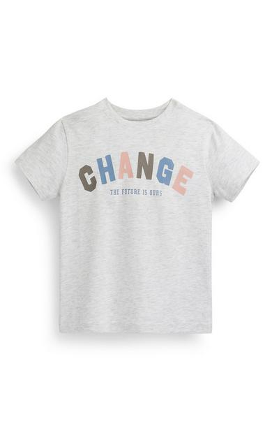 Younger Boy Gray Change Slogan T-Shirt