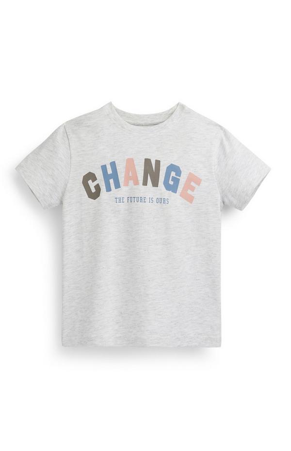 Younger Boy Grey Change Slogan T-Shirt