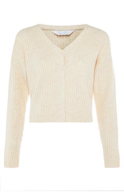 Ivory Rib-Knit V-Neck Cardigan