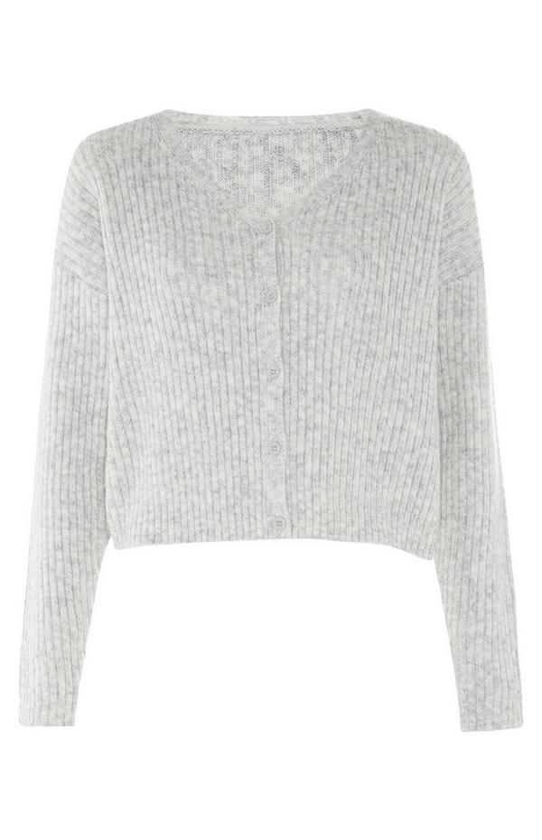 Grey Ribbed Knit V Neck Cardigan