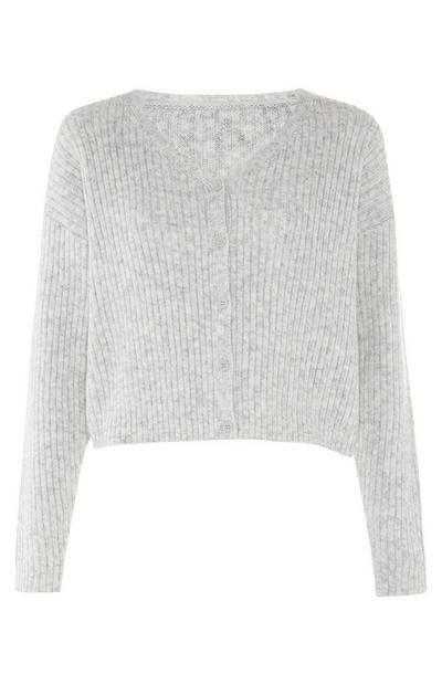 Grey Ribbed Knit V Neck Bradigan