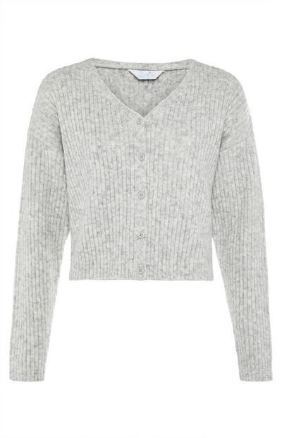 Cardigan grigio con scollo a V in maglia lavorata a coste
