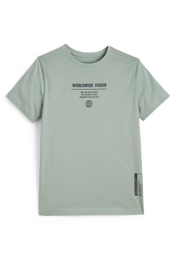 Kaki T-shirt Worldwide Vision voor jongens