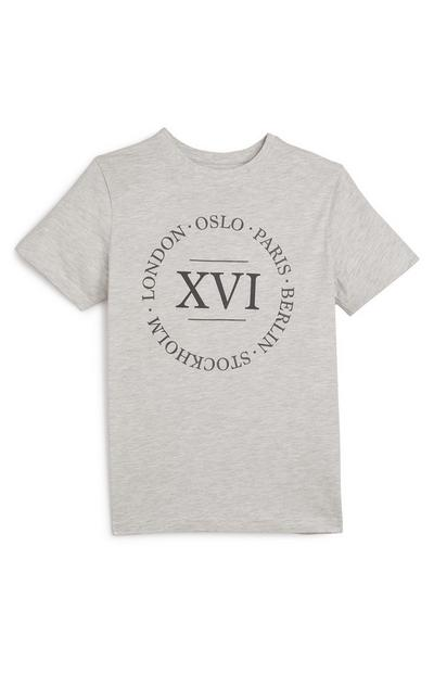 Older Boy Gray Numeral Print T-Shirt