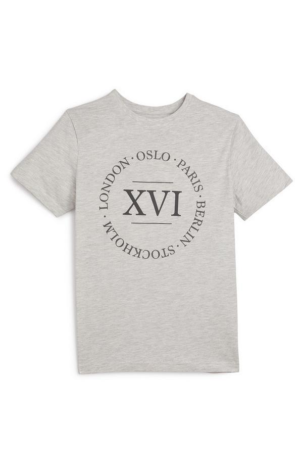 T-shirt grigia con stampa numero da ragazzo