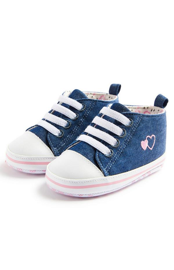 Baby Girl Blue Chambray Hightop Trainers