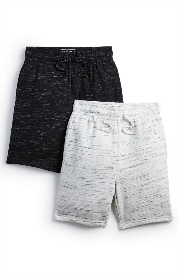 Older Boy Black And Grey Jersey Shorts 2 Pack