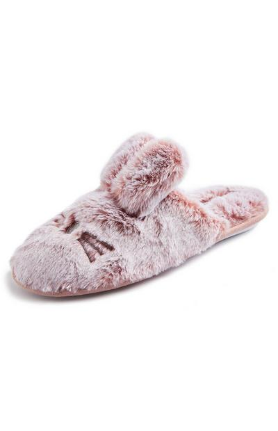 Blush Pink Faux Fur Tipped Bunny Mule Slippers