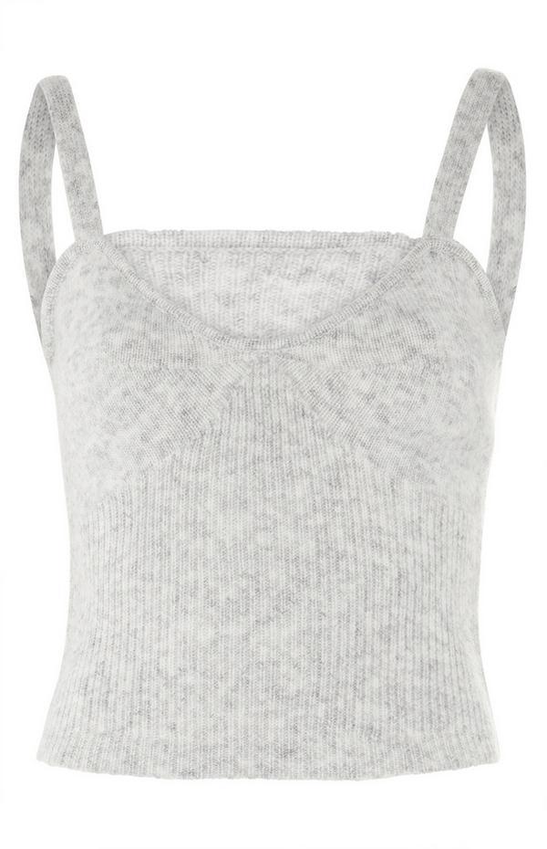 Grey Ribbed Knit Bralet