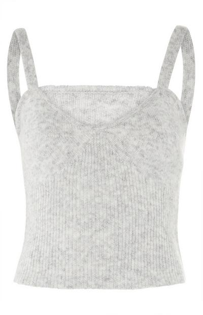 Grey Ribbed Knit Bralet