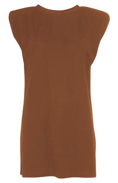 Tabakbraunes, langes T-Shirt mit Schulterpolstern