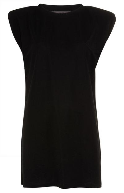 Black Extra Long T-Shirt with Shoulder Pads
