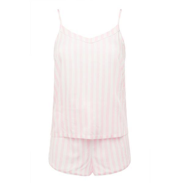 Viscose Candy Stripe Pink Cami Short PJ Set