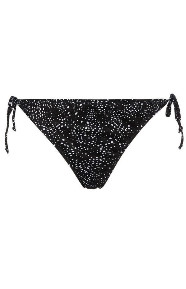 Black Pattern Side Tie Bikini Briefs