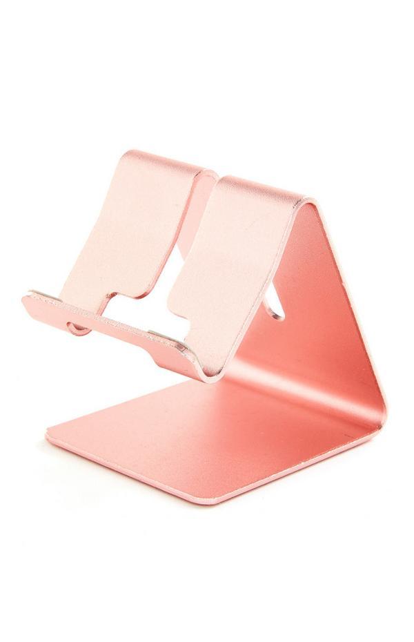 Soporte para tableta rosa para trabajar desde casa