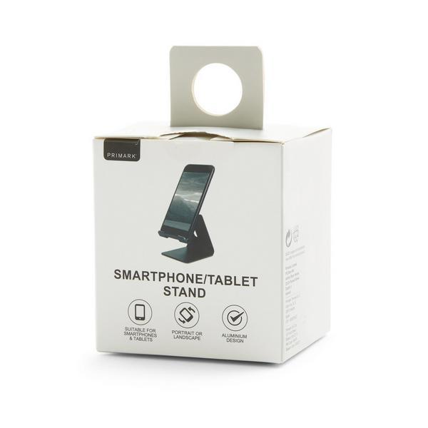 Soporte negro para tableta y teléfono