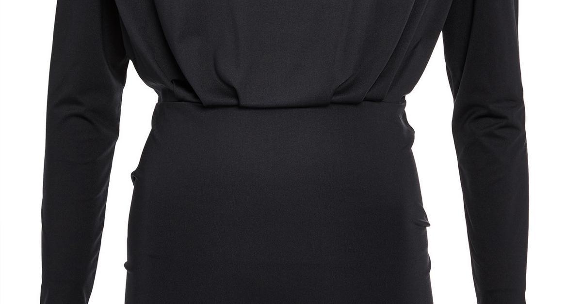 Schwarzes, eng anliegendes Kleid mit Schulterpolstern ...