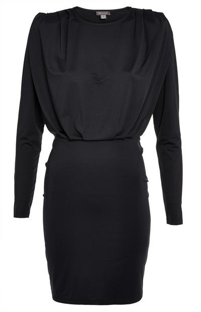 Black Slinky Padded Shoulder Dress
