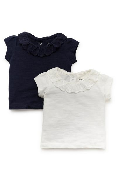 Baby Girl Navy And White Frill Collar Short Sleeve T-Shirt 2 Pack