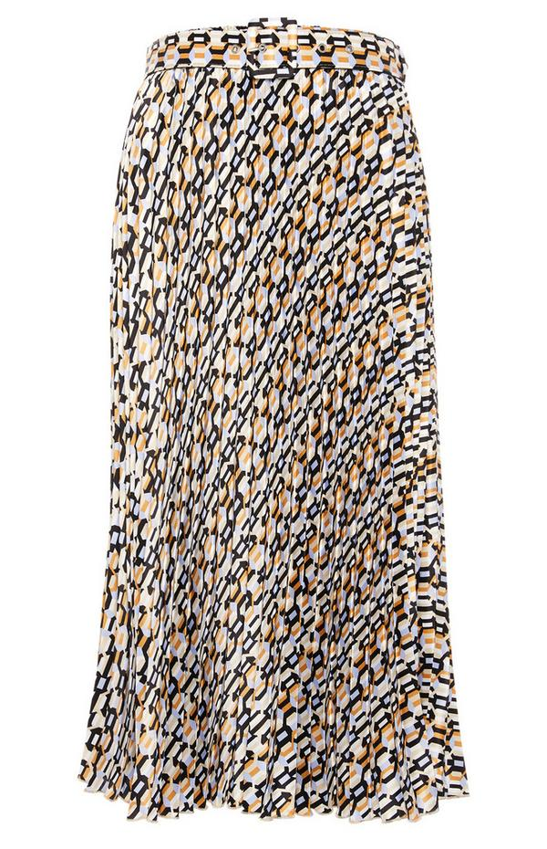 Belted Pleat Midi Skirt