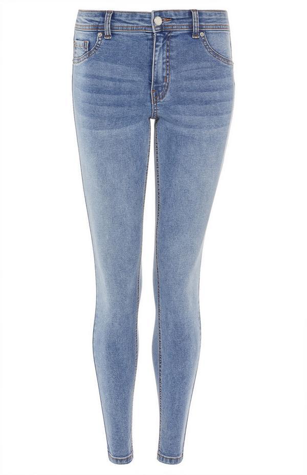 Jean skinny bleu délavé taille basse