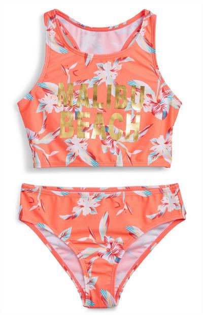 Older Girl Orange Floral Print Bikini