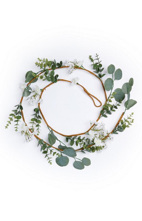 Grinalda c/ flor branca