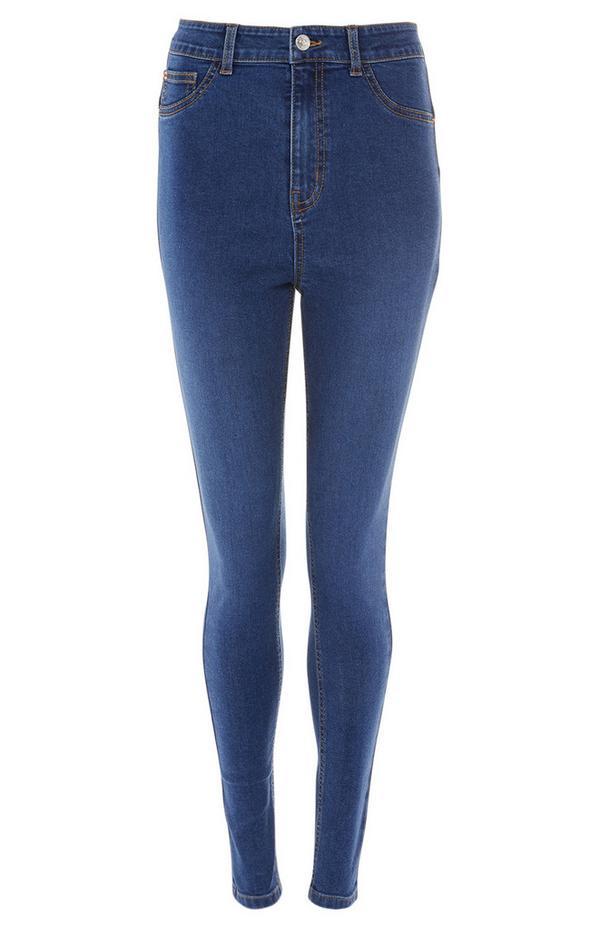 Afkledende blauwe skinny jeans