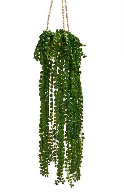 Gold-Tone Hanging Faux Plant Pot