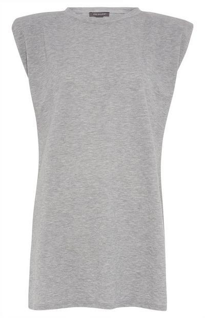 Langes T-Shirt in Grau mit Schulterpolstern