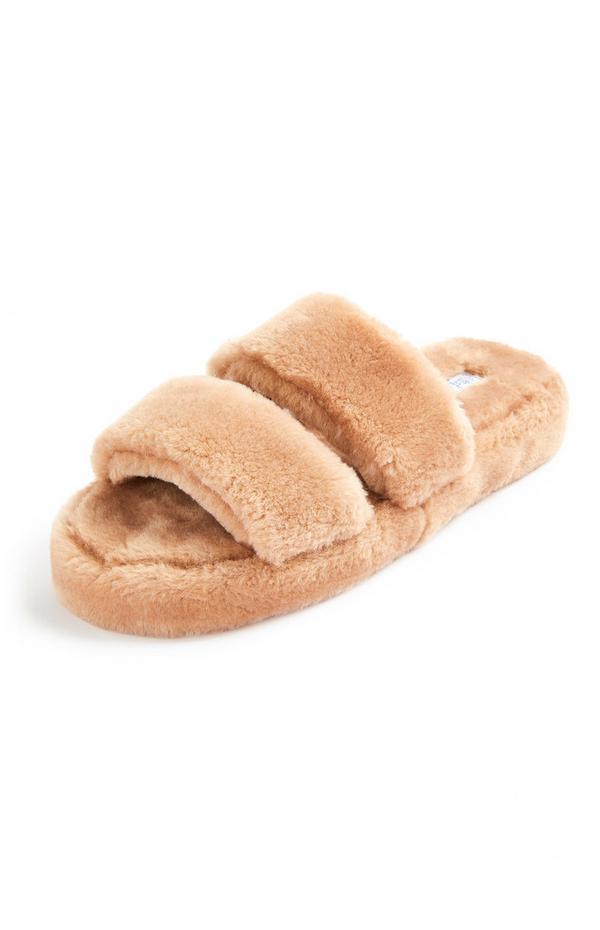 Camelkleurige slippers van imitatiebont met dubbele bandjes en platformzool