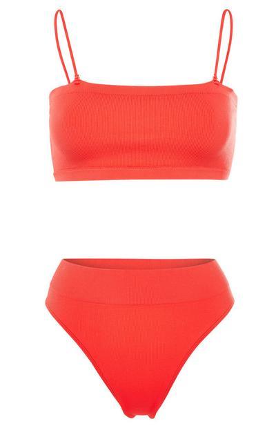 Conjunto cuecas subidas/top cai-cai s/ costuras laranja coral