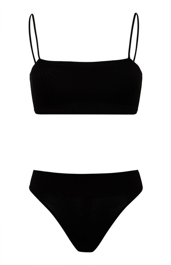 Ensemble soutien-gorge bandeau sans coutures et culotte noirs