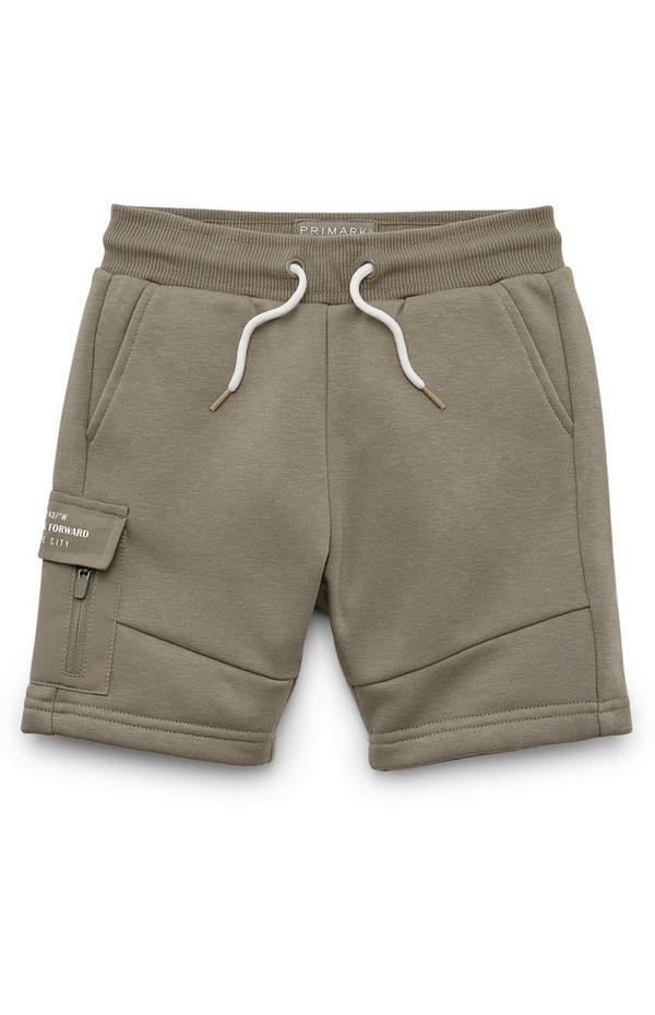 Kaki kratke hlače z žepi na stegnih za mlajše fante