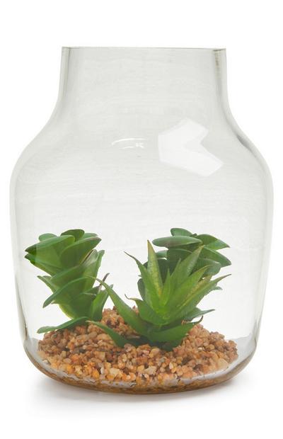 Grand terrarium en verre avec plante artificielle