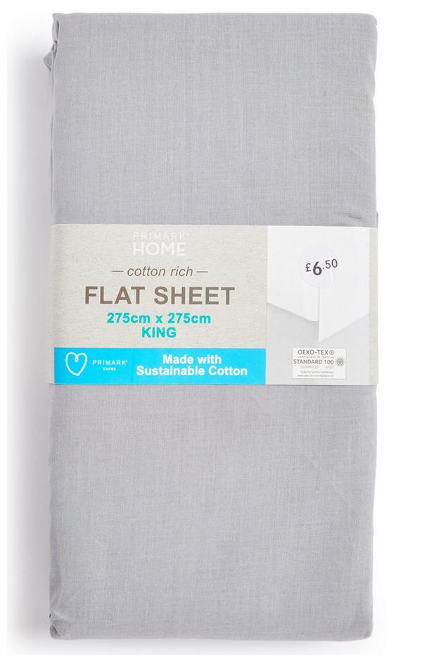 Grey King Size Cotton Rich Flat Sheet