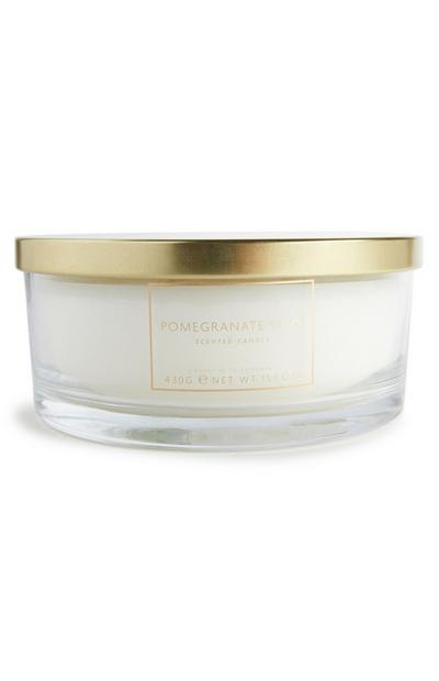 Large 3 Wick Pommegranate Candle With Gold-Tone Lid