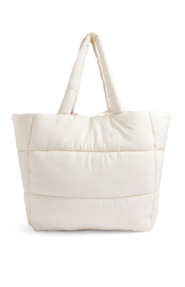 Cream Oversized Puffy Shopper Handbag