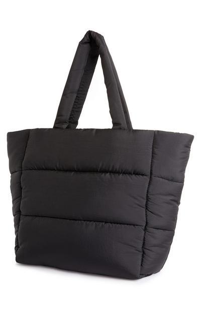 Velika mehka črna nakupovalna torba