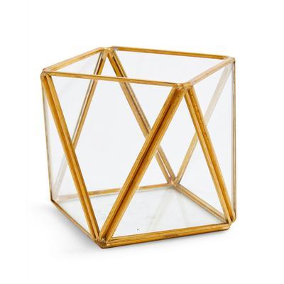 Small Geometric Glass Tealight Holder
