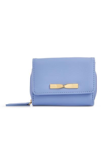 Powder Blue Medium Twist Bow Wallet Purse