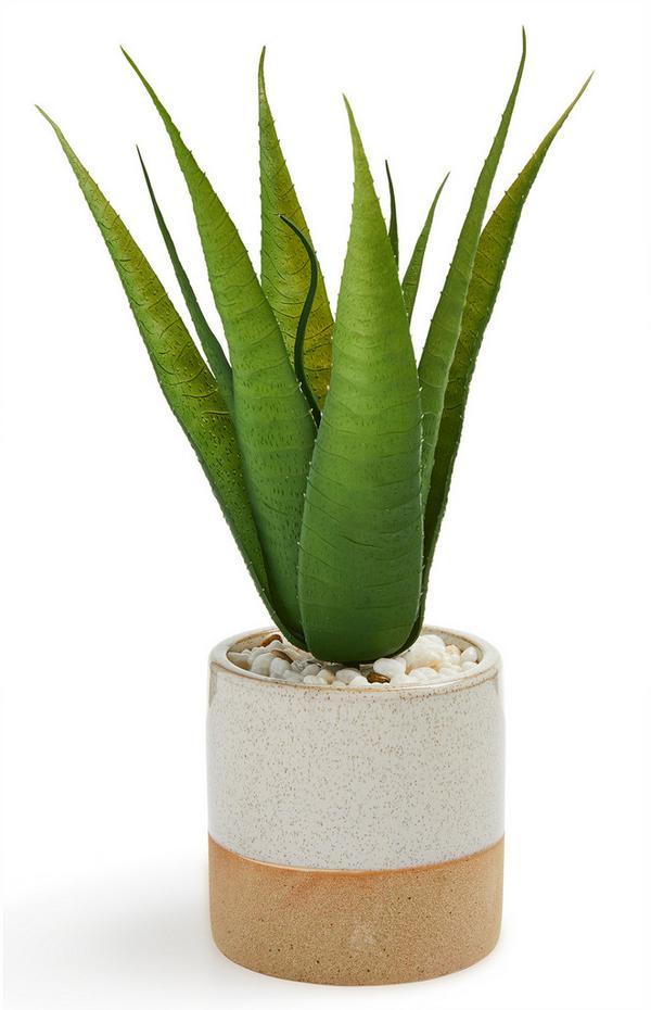 Glazed Ceramic Faux Plant Pot