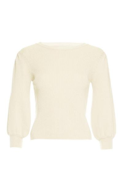 Ivory Puffed Sleeve Sweater
