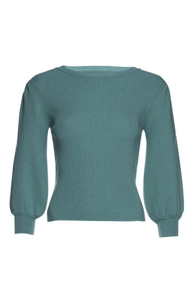 Teal Puffed Sleeve Sweater