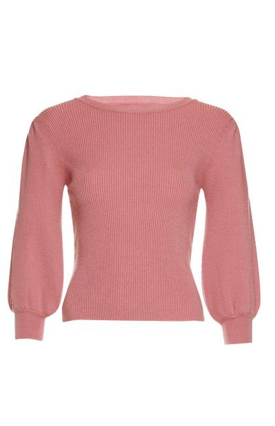 Coral Puffed Sleeve Sweater