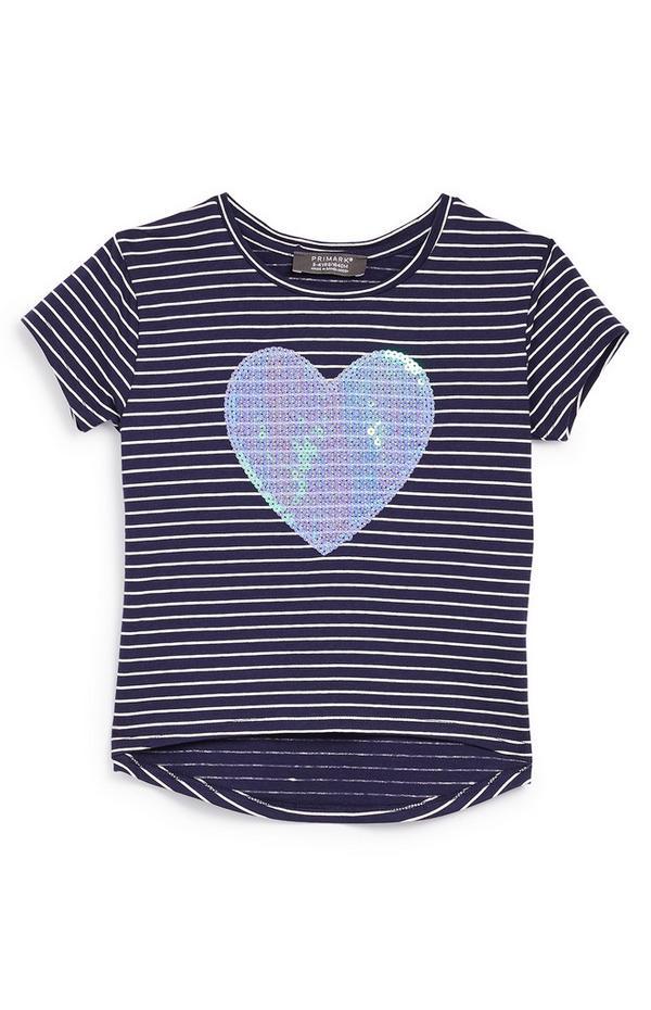 Marineblaues T-Shirt mit Pailletten-Herz (kleine Mädchen)