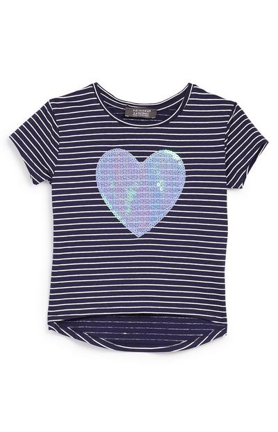 Younger Girl Navy Heart Sequin T-Shirt