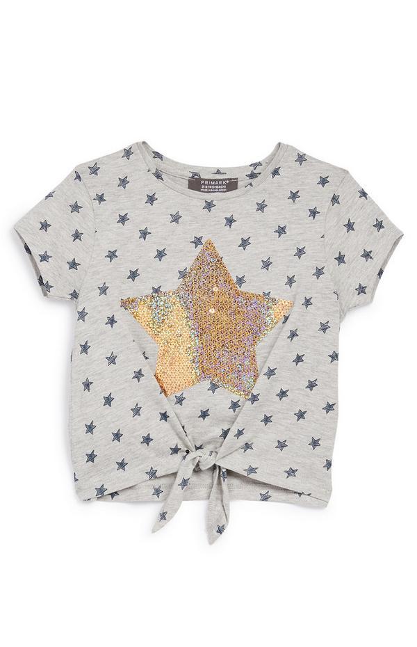 Graues T-Shirt mit Pailletten-Stern (kleine Mädchen)