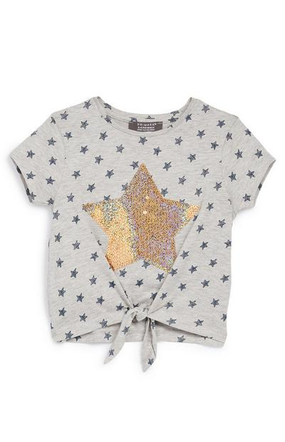 Younger Girl Grey Stars Value Sequin T-Shirt